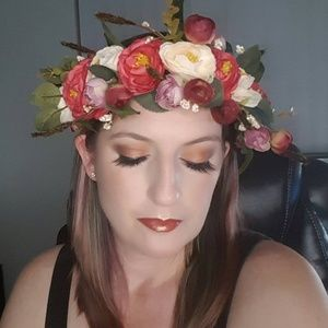 Accessories - Boho silk flower crown - red/cream
